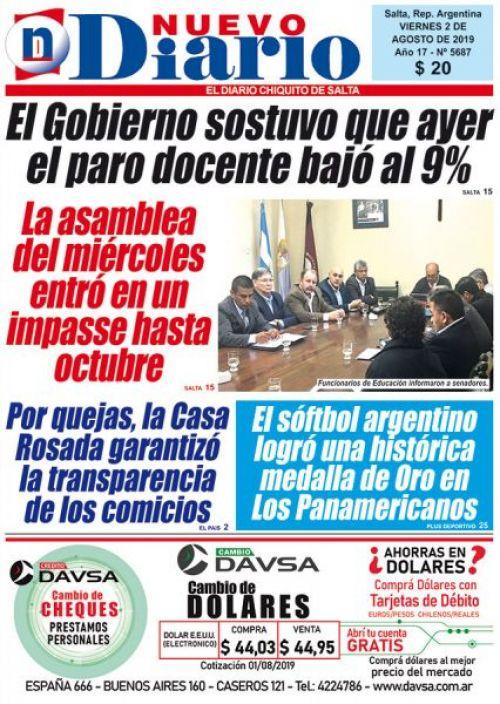 Tapa del 02/08/2019 Nuevo Diario de Salta
