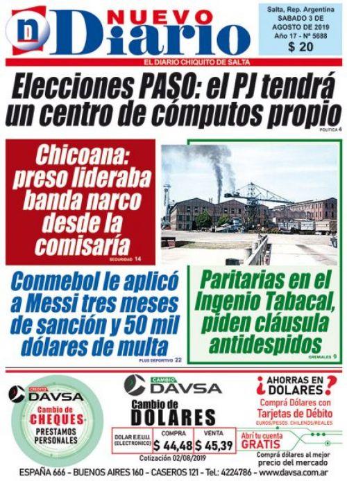 Tapa del 03/08/2019 Nuevo Diario de Salta