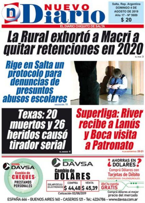 Tapa del 04/08/2019 Nuevo Diario de Salta