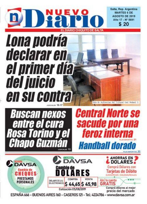 Tapa del 06/08/2019 Nuevo Diario de Salta