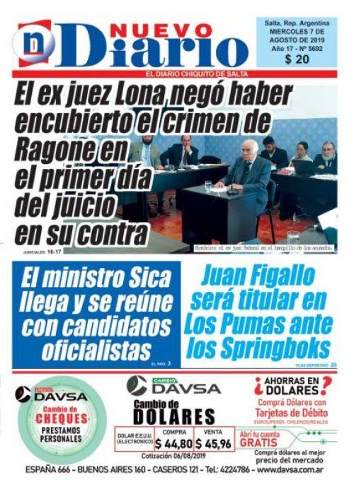 Tapa del 07/08/2019 Nuevo Diario de Salta