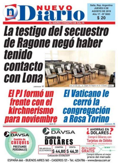 Tapa del 08/08/2019 Nuevo Diario de Salta
