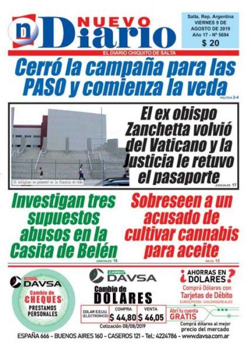 Tapa del 09/08/2019 Nuevo Diario de Salta