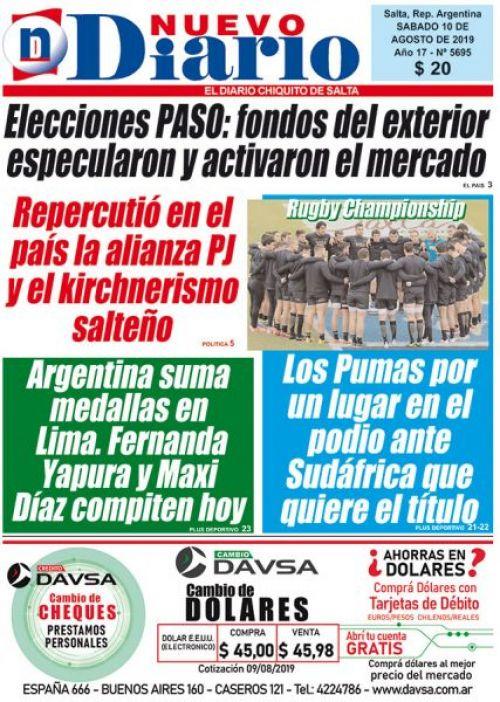 Tapa del 10/08/2019 Nuevo Diario de Salta