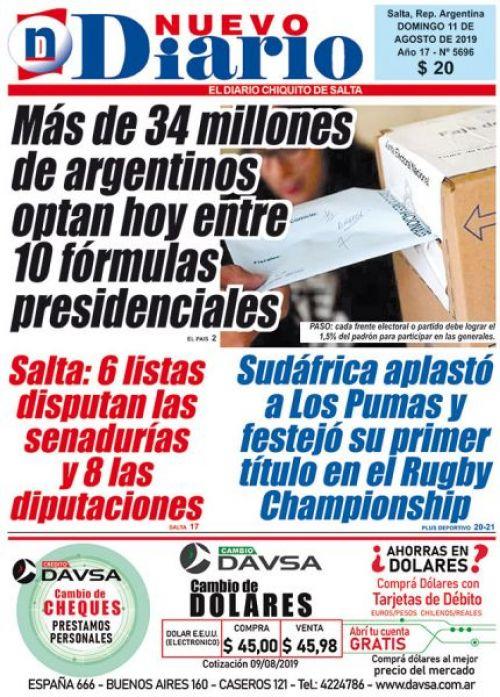 Tapa del 11/08/2019 Nuevo Diario de Salta