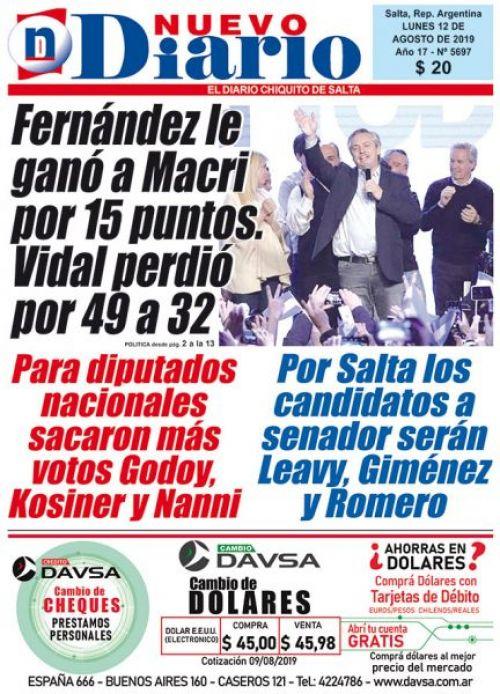 Tapa del 12/08/2019 Nuevo Diario de Salta
