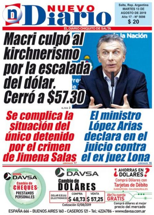 Tapa del 13/08/2019 Nuevo Diario de Salta