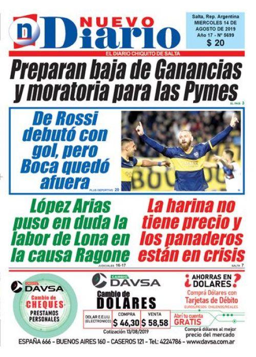 Tapa del 14/08/2019 Nuevo Diario de Salta
