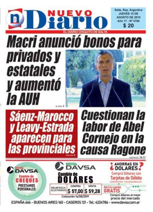 Tapa del 15/08/2019 Nuevo Diario de Salta