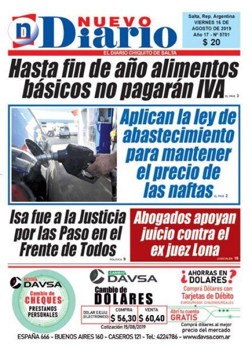 Tapa del 16/08/2019 Nuevo Diario de Salta