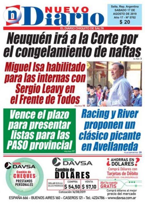 Tapa del 17/08/2019 Nuevo Diario de Salta