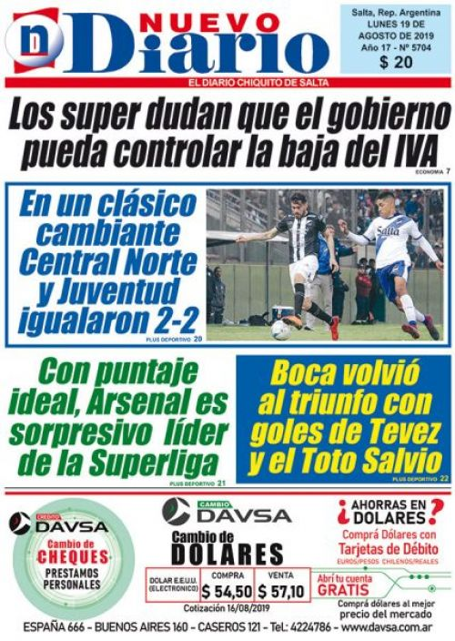 Tapa del 19/08/2019 Nuevo Diario de Salta