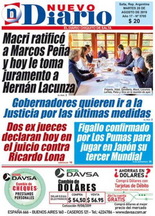 Tapa del 20/08/2019 Nuevo Diario de Salta