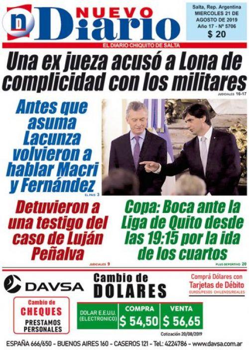 Tapa del 21/08/2019 Nuevo Diario de Salta