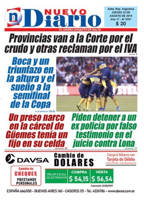 Tapa del 22/08/2019 Nuevo Diario de Salta