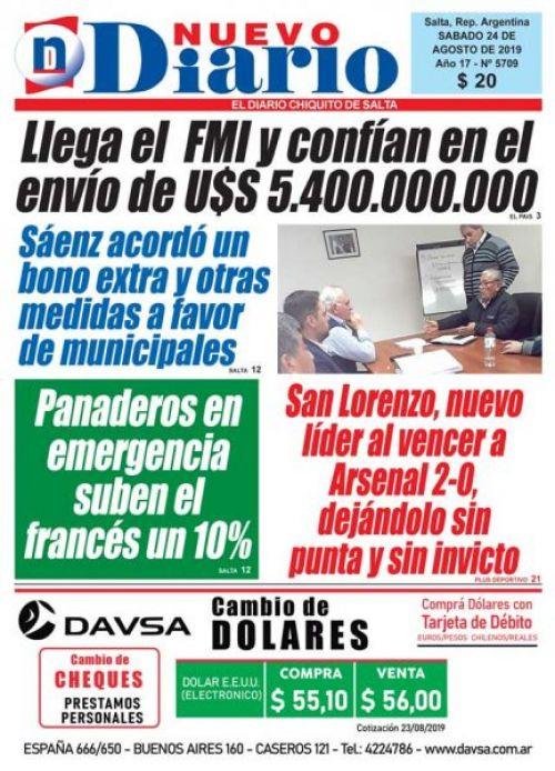 Tapa del 24/08/2019 Nuevo Diario de Salta