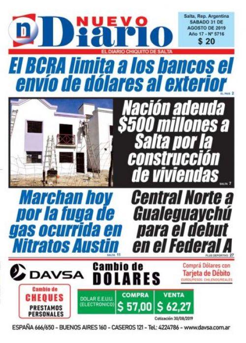 Tapa del 31/08/2019 Nuevo Diario de Salta