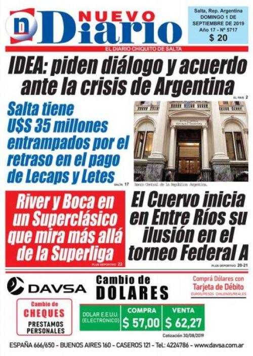 Tapa del 01/09/2019 Nuevo Diario de Salta