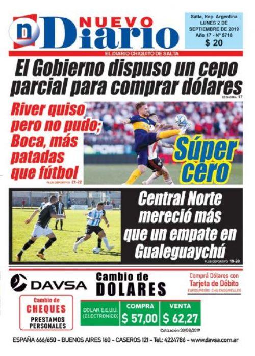 Tapa del 02/09/2019 Nuevo Diario de Salta