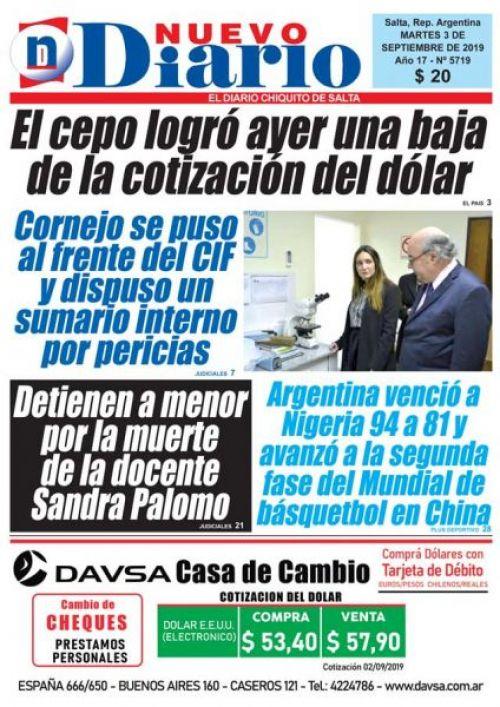Tapa del 03/09/2019 Nuevo Diario de Salta