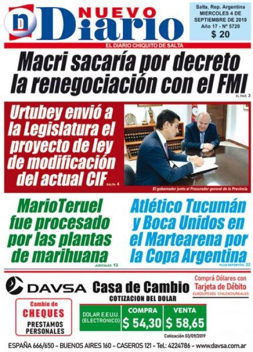 Tapa del 04/09/2019 Nuevo Diario de Salta