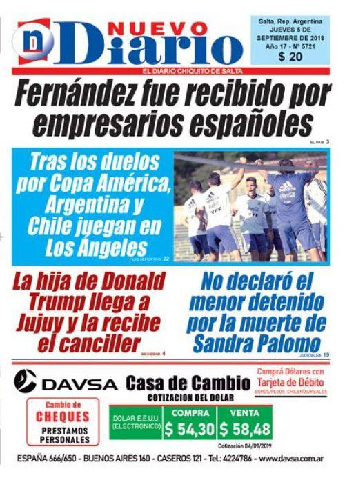 Tapa del 05/09/2019 Nuevo Diario de Salta