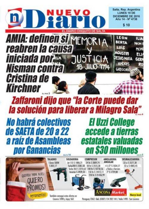 Tapa del 19/12/2016 Nuevo Diario de Salta