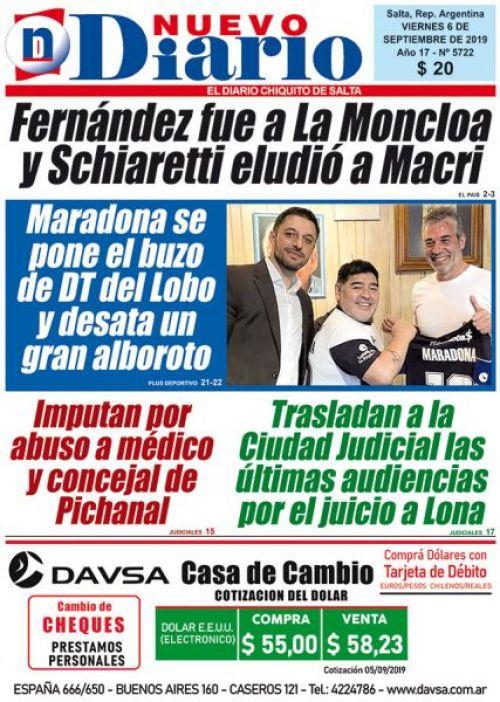 Tapa del 06/09/2019 Nuevo Diario de Salta
