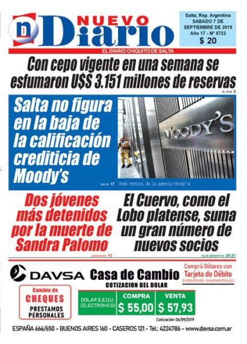 Tapa del 07/09/2019 Nuevo Diario de Salta