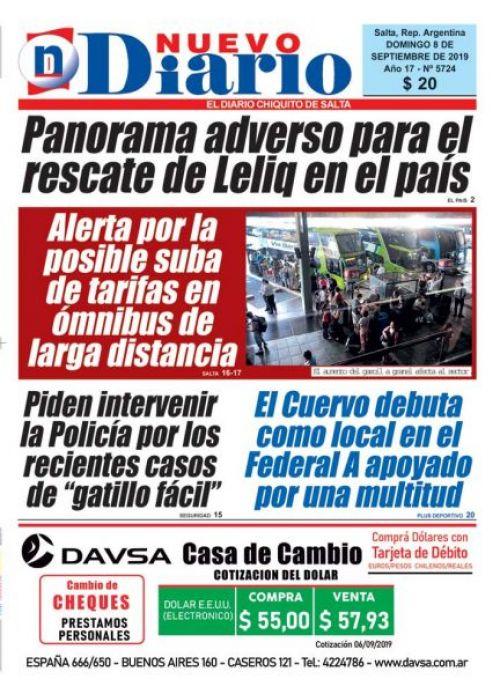 Tapa del 08/09/2019 Nuevo Diario de Salta