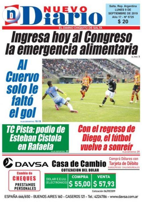 Tapa del 09/09/2019 Nuevo Diario de Salta