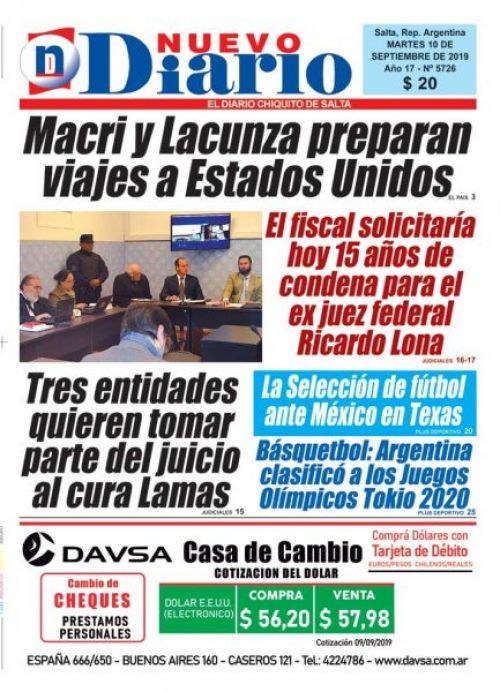 Tapa del 10/09/2019 Nuevo Diario de Salta