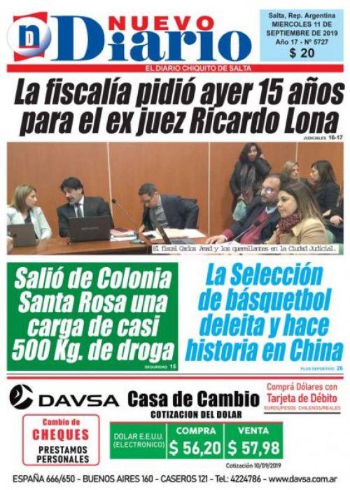 Tapa del 11/09/2019 Nuevo Diario de Salta