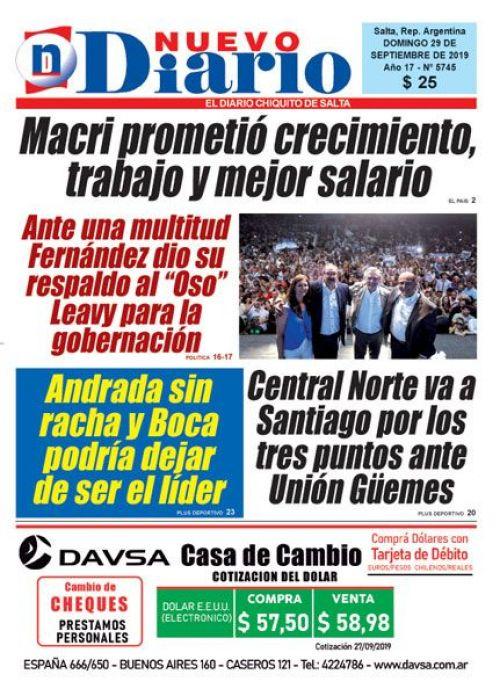 Tapa del 29/09/2019 Nuevo Diario de Salta