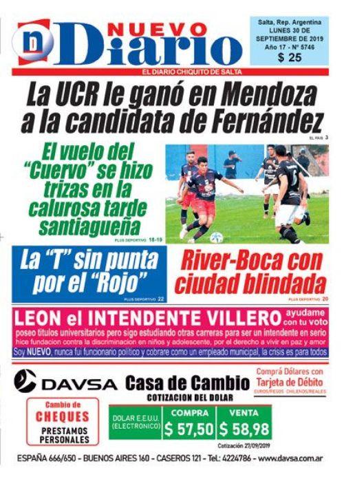 Tapa del 30/09/2019 Nuevo Diario de Salta