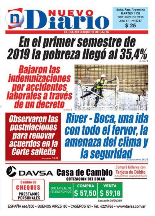 Tapa del 01/10/2019 Nuevo Diario de Salta