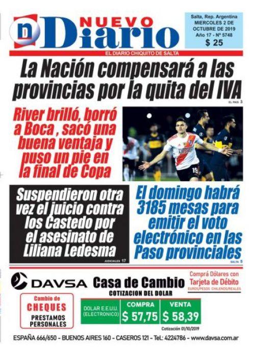 Tapa del 02/10/2019 Nuevo Diario de Salta