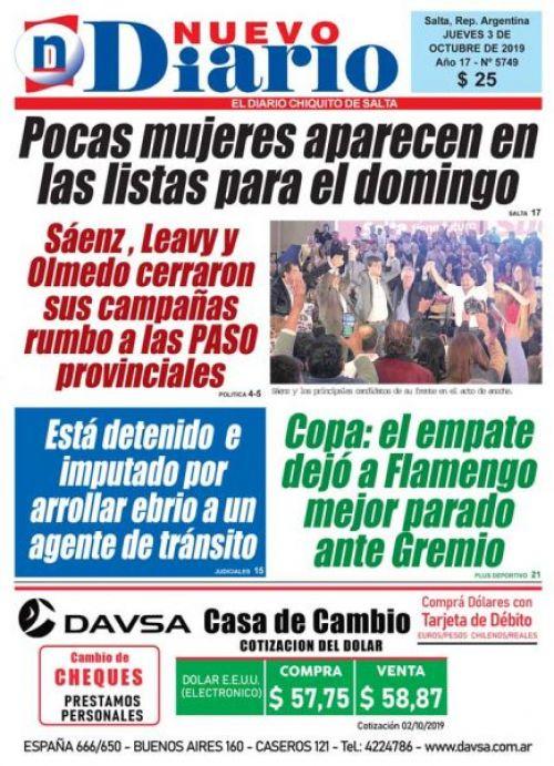 Tapa del 03/10/2019 Nuevo Diario de Salta
