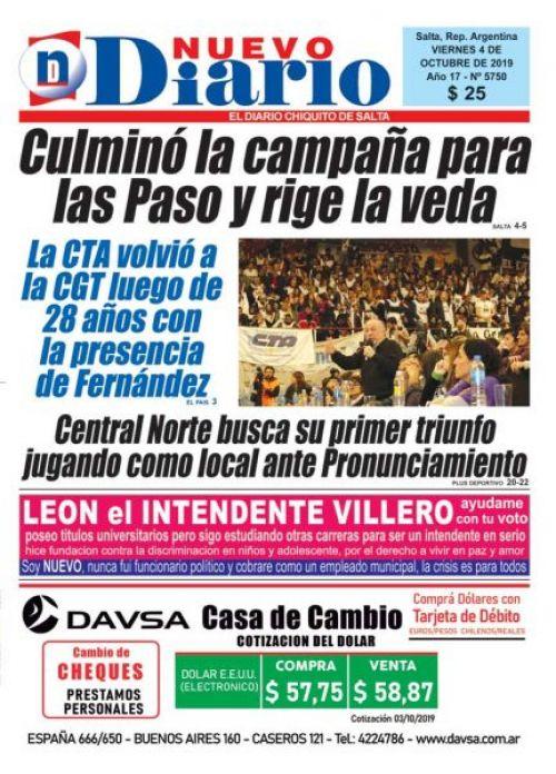 Tapa del 04/10/2019 Nuevo Diario de Salta