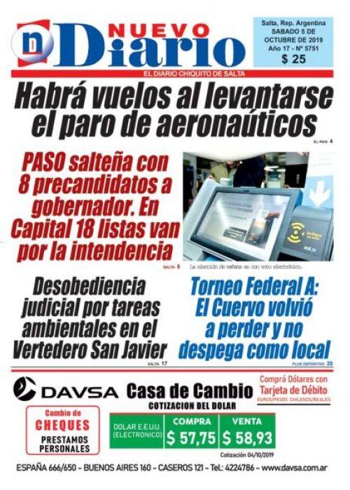Tapa del 05/10/2019 Nuevo Diario de Salta