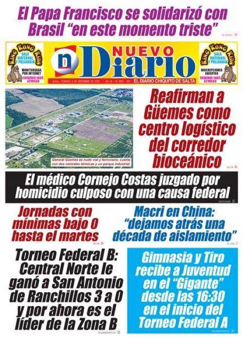 Tapa del 04/09/2016 Nuevo Diario de Salta