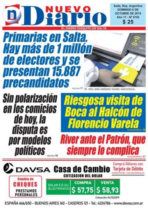 Tapa del 06/10/2019 Nuevo Diario de Salta