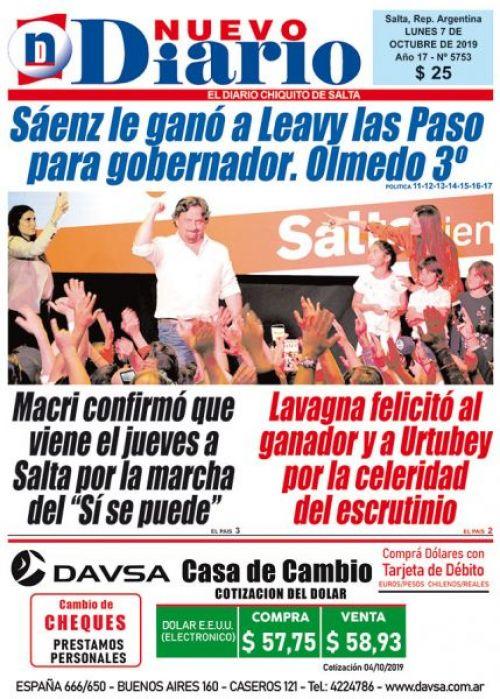 Tapa del 07/10/2019 Nuevo Diario de Salta