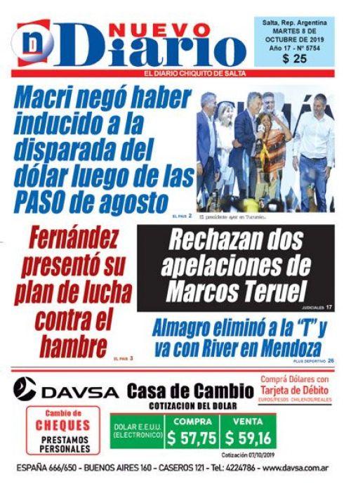 Tapa del 08/10/2019 Nuevo Diario de Salta