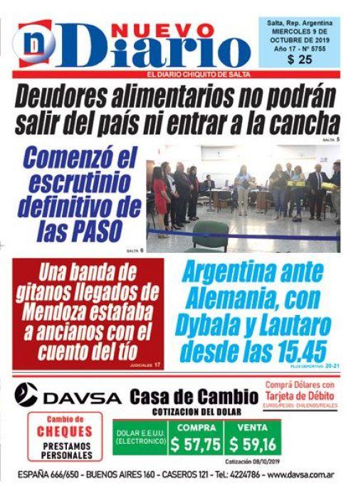 Tapa del 09/10/2019 Nuevo Diario de Salta