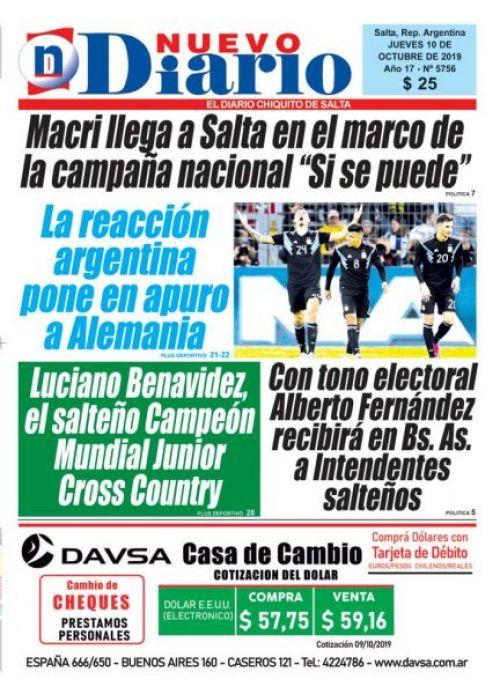 Tapa del 10/10/2019 Nuevo Diario de Salta