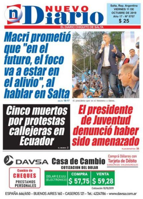 Tapa del 11/10/2019 Nuevo Diario de Salta