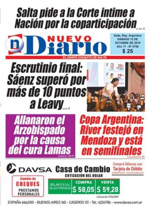 Tapa del 12/10/2019 Nuevo Diario de Salta