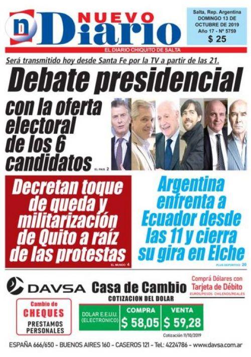 Tapa del 13/10/2019 Nuevo Diario de Salta