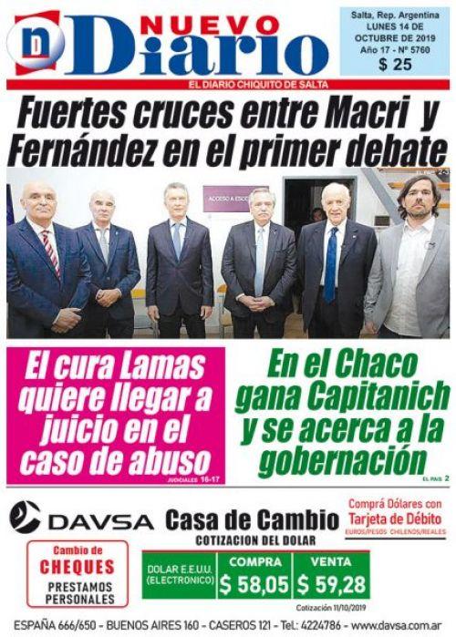 Tapa del 14/10/2019 Nuevo Diario de Salta